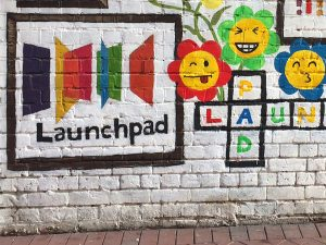 launchpad logo on a wall