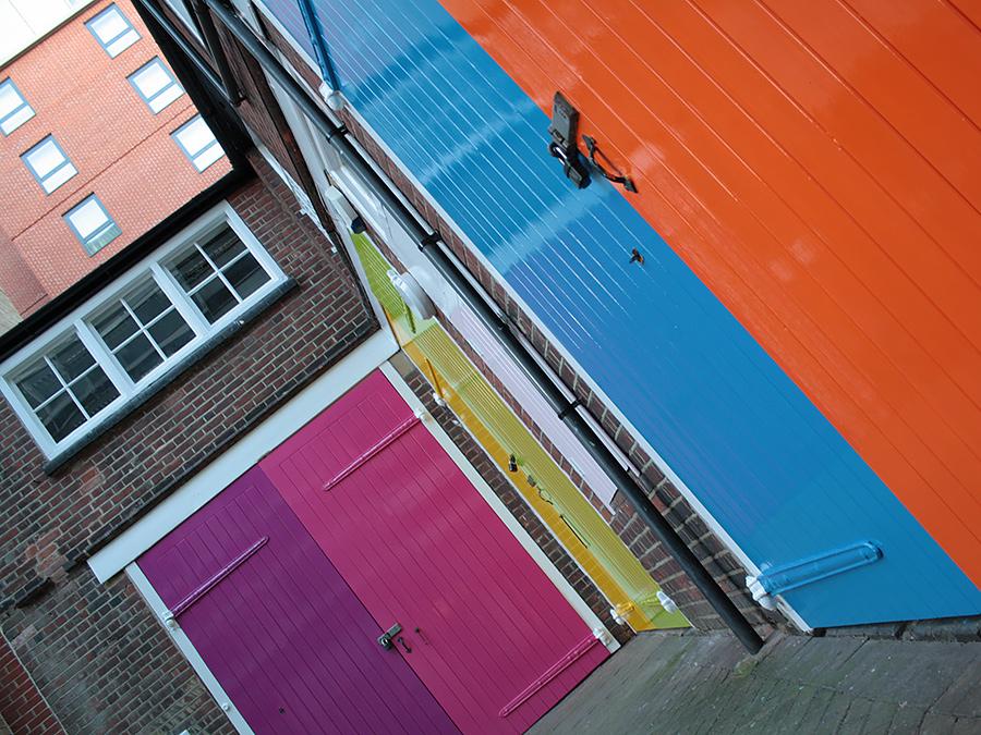 different coloured doors