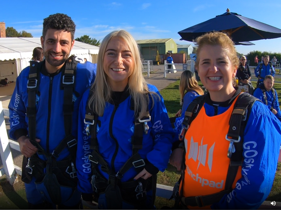 launchpad people standing in skydiving suits