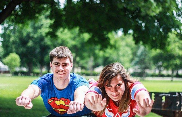 Dressed as super heros