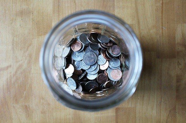 Jar full of loose change